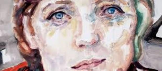 Portrait painting of Angela Merkel by Elizabeth Peyton FAIR USE Creative Commons