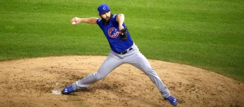 Cubs starter Jake Arrieta delivers a pitch in the first in… | Flickr - flickr.com