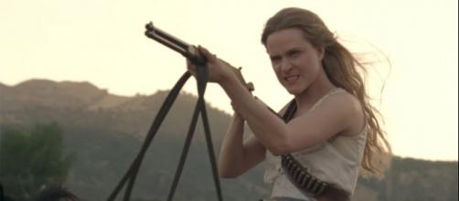 """Dolores (Evan Rachel Wood) will be back to shoot more guns when """"Westworld"""" retuens next year. Photo: HBO"""