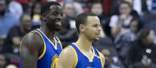 Draymond Green and Stephen Curry Warriors at Wizards 2/28/17 - Keith Allison via Flickr
