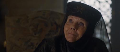 Olenna Tyrell contando para Jaime que matou Joffrey no terceiro episódio da sétima temporada de GoT