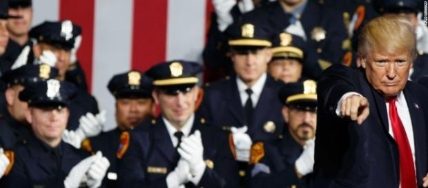 President Donald Trump points to the audience during his law and order speech in New York. / from 'TopofNewz' NewsFeed - topofnewz.com