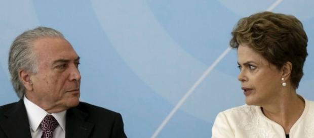Presidente Michel Temer e Dilma Rousseff (Foto: Reprodução)