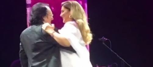Al Bano e Romina dopo il concerto di Mosca del scorso giugno 2017.