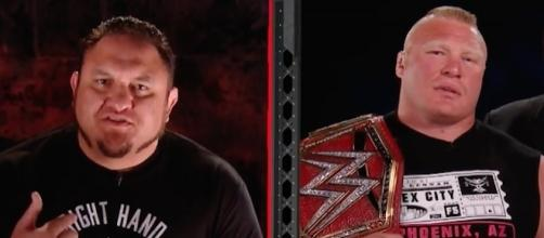 "Samoa Joe and Brock Lesnar appeared in a backstage interview segment on Monday's ""Raw"" for July 3rd, 2017. [Image via WWE/YouTube]"