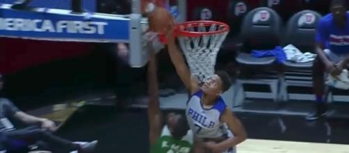 The Sixers' Markelle Fultz blocks a shot by the Celtics' Kadeem Allen during NBA Summer League in Utah on Monday night. [Image via NBA/YouTube]