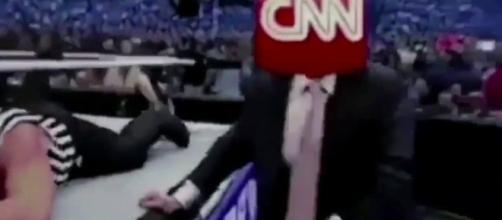 Trump's fake wrestling video which showed the billionaire slam CNN. Photo via Mitchell Wiggs, YouTube.