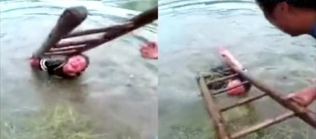 Pai castiga o filho por ele ser desobediente (foto: Captura de vídeo)