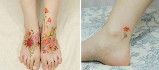 Tatuagens florais são como obras de arte (Foto: Reprodução/ Montagem)