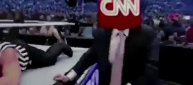 Trump's fake wrestling video which showed the billionaire slam CNN. Photo via Mitchell Wiggs, YouTube.