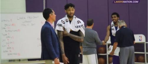 Brandon Ingram during a practice session alongside LA Lakers GM Rob Pelinka - Photo via Lakers Nation YouTube