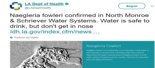 Conforme a entidade, a água é segura para o consumo, desde que não entre pelo nariz... (Departamento de Saúde da Luisiana )