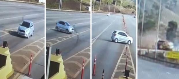 Câmeras de segurança de pedágio flagraram o acidente (Foto: Reprodução)