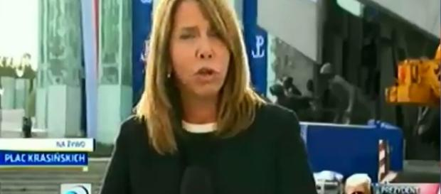 Reporterka stacji TVN (źródło: youtube.com).