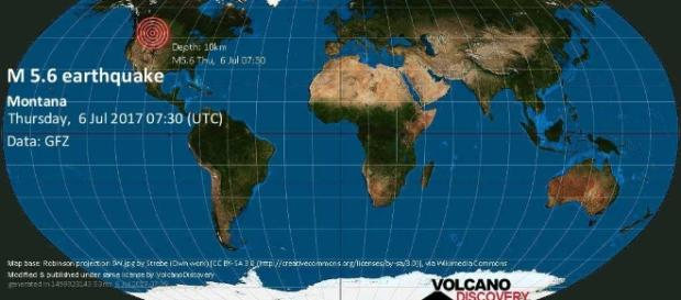 M5.8 earthquake on Thu, 6 Jul 06:30:17, Montana. (Image Credit: volcanodiscovery.com)