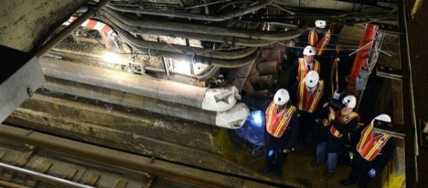 Hurricane Sandy damages in the tunnel (wikimediacommons)