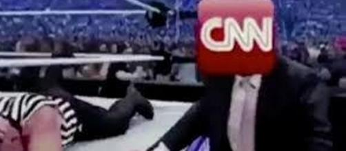 A screen shot showing the GIF that was edited to make it appear that Donald Trump wrestled CNN - Flickr/Hagmann Report