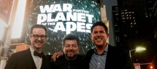 """Andy Serkis, Matt Reeves and producer Dylan Clark are shown at the New York Comic-Con to promote """"War for the Planet of the Apes.""""(Facebook)"""