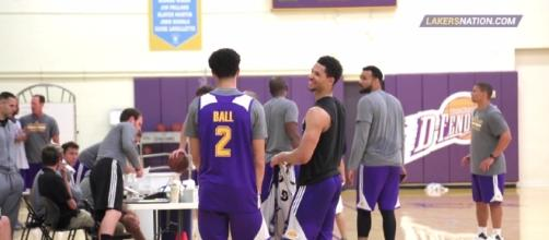 Lonzo Ball during a practice session. Photo -- YouTube Screenshot/@Lakersnation