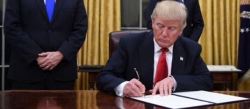 President Donald Trump photographed signing the executive order regarding travel ban - Flickr/carolbrunette7