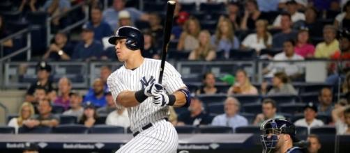 The Yankees' Aaron Judge singles during the first inning. - Arturo Pardavila III via Flickr