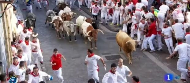 Photo Running of the Bulls in Pamplona screen capture from YouTube video/Carche