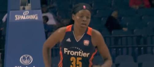 Jonquel Jones led the Connecticut Sun to a win over the Mystics on Saturday night. [Image via WNBA/YouTube]