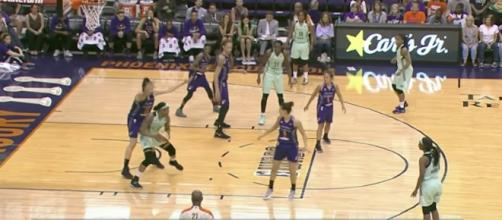 The Liberty and Mercury have their third meeting of the season on Sunday. [Image credit WNBA/YouTube]