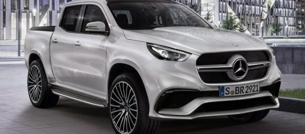 mercedes benz teases its upcoming luxury pick up truck the 2018 x class. Black Bedroom Furniture Sets. Home Design Ideas
