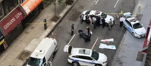 A photo showing the scene after the couple jumped to their deaths from a Manhattan building - YouTube/NEWS TODAY