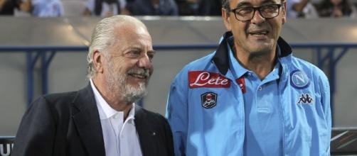 Il presidente del Napoli Aurelio De Laurentiis con l'allenatore azzurro Maurizio Sarri