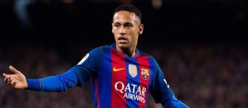 Neymar en un partido con el Barcelona.