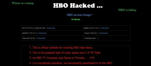 """Photo screen capture from hacker's website relating to """"Game of Thrones'"""