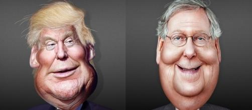 Donald Trump and Mitch McConnell caricatures. / [Images by Donkey Hotey via Flickr, CC BY-SA 2.0]