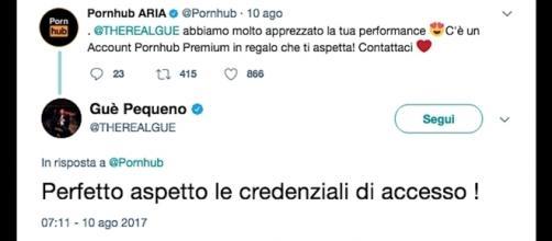 Ironico scambio di tweet tra un noto portale erotico e Guè Pequeno.