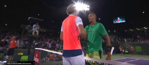 Zverev and Kyrgios in Miami/ Photo: screenshot via Tennis TV channel on YouTube