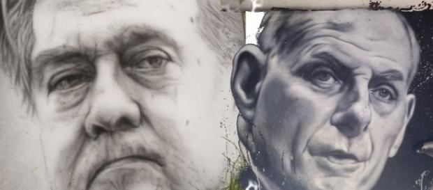 Steve Bannon and John Kelly murals / [Images by Abode of Chaos via Flickr, cropped, resized, edited by @JonMarkDraws, CC BY 2.0]