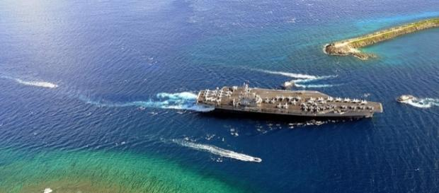 USS Ronald Reagan enters Agana Harbor in Guam (credit wikimediacommons)