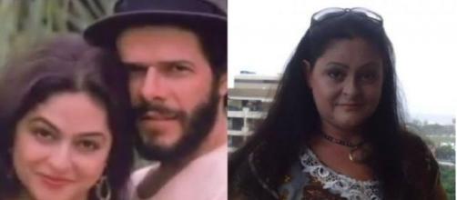 Ex-atriz Simone Carvalho com José Mayer em 'Tieta' (1989) e atualmente