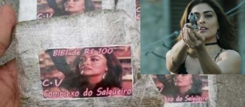 Foto de Bibi estampa trouxinhas de maconha no Rio de Janeiro. (Foto internet)