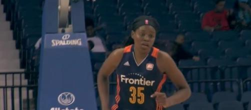 Jonquel Jones and the Connecticut Sun try to make it five-straight wins when they host the Dallas Wings Saturday night. [Image via WNBA/YouTube]