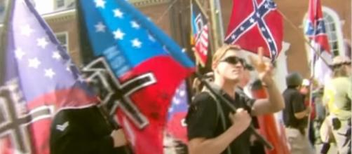 White nationalists at Charlottesville, Virginia rally / [Image screenshot from CBS News via YouTube:https://youtu.be/C_5fPUH1GQM]