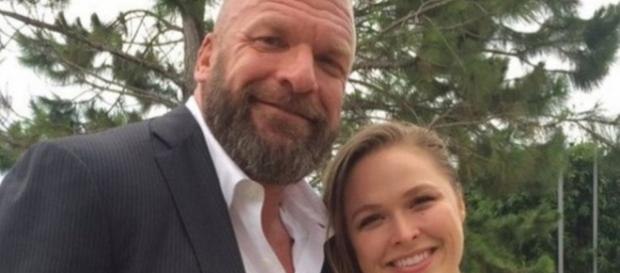 Triple H and Ronda Rousey/ photo by @BCampbellCBS via Twitter