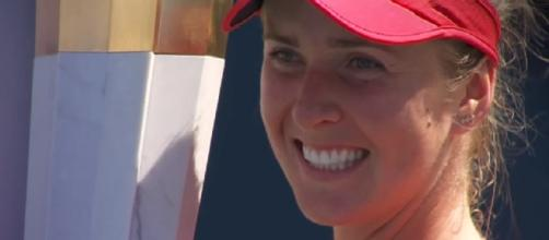 Elina Svitolina is celebrating 2017 Rogers Cup title. [Image via YouTube/WTA]