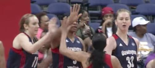 The Washington Mystics picked up a home win over the Indiana Fever on Saturday night. [Image via WNBA/YouTube]