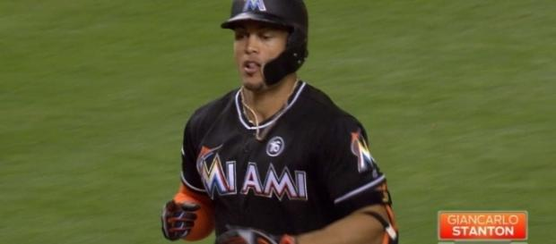 Giancarlo Stanton added a milestone home run in a 5-3 Marlins' win on Sunday. [Image via MLB/YouTube]