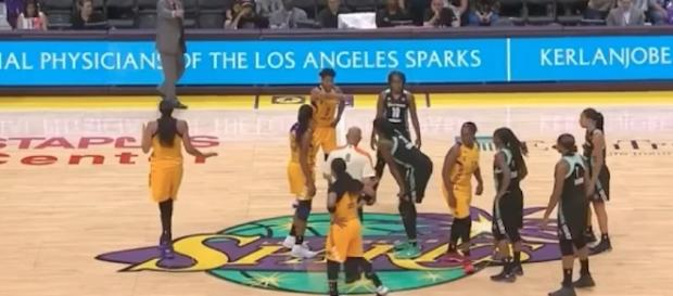 The Sparks and Liberty will meet up for a Sunday afternoon game on the WNBA schedule. [Image via WNBA/YouTube]