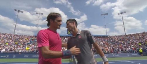Federer celebrating 2015 Cincinnati title over Djokovic/ Photo: screenshot via Tennis TV channel on YouTube