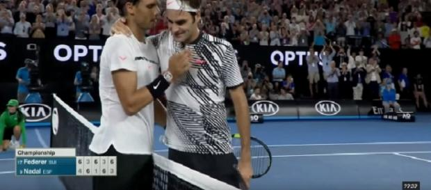 Federer and Nadal at the end of 2017 Australian Open final/ Photo: screenshot via YouTube