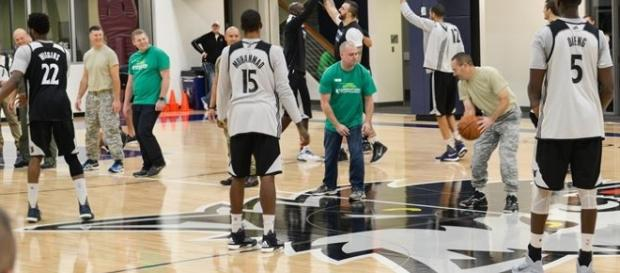 Minnesota Timberwolves practice with 934 AW and military members (c) Air Force Photo/Capt. William-Joseph Mojica